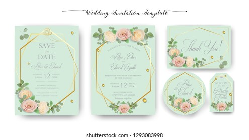 Floral Wedding Invitation elegant invite, thank you, rsvp, Save the Date, Bridal Shower, marriage day card Design garden flowers pink peach Rose, green Eucalyptus leaf greenery bouquet banner template
