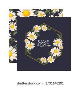 Floral Wedding Invitation elegant invite card vector Design, golden geometric print frame,garden flower daisies