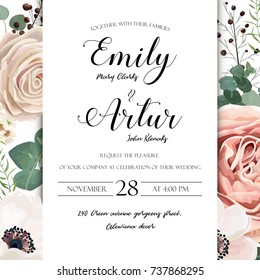 Floral Wedding Invitation elegant invite card vector Design: garden flower lavender pink peach Rose white wax, Anemone green blue Eucalyptus elegant greenery, berry bouquet print frame with copy space