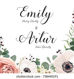 Floral Wedding Invitation elegant invite card vector Design: garden flower lavender pink peach Rose, white wax, Anemone green blue Eucalyptus delicate greenery, berry bouquet print border & copy space