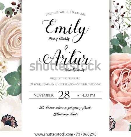 Floral Wedding Invitation Elegant Invite Card Image Vectorielle De