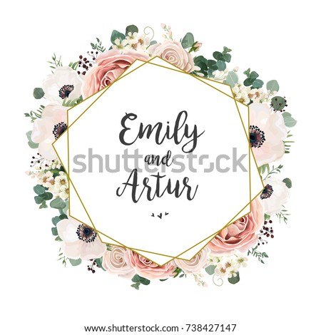 floral wedding invitation elegant invite card のベクター画像素材