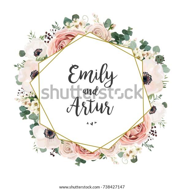 Floral Wedding Invitation Elegant Invite Card庫存向量圖 免