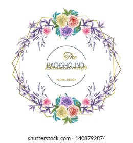 Floral wedding invitation with flower garland of colorful terry petunia and foliage on white background. Vector illustration of garden plants.