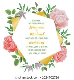 Greeting card tropical flowers watercolor can stock illustration floral wedding invitation with flowers herb and bushes branches in watercolor style on white background filmwisefo Images