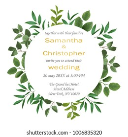 Floral wedding invitation with herb and bushes branches with leaves in watercolor style on white background. Greenery botanical template with text place for invite, greeting, birthday card and covers.