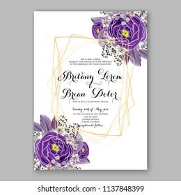 Floral Wedding Invitation, invite elegant card vector Design garden flower peach Rose Anemone green blue Eucalyptus delicate greenery, berry bouquet print violet ranunculus wedding wording