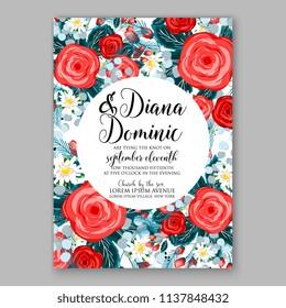 Floral Wedding Invitation, invite elegant card vector Design garden flower red rose peony Rose Anemone green blue Eucalyptus delicate greenery, berry bouquet print border & text space wedding wording