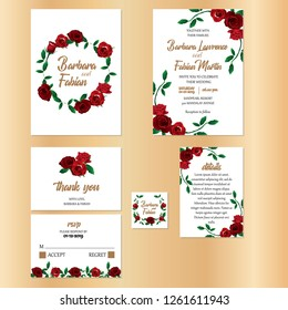 floral wedding invitation kits with rose flower details, rsvp card, thank you card, save the date, solid background, minimalis simple design template