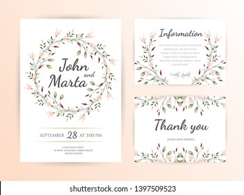 Floral Wedding Invitation. Modern card Design. Save the Date Card Templates Set with Greenery, Decorative Floral and Herbs Element. Vintage Botanical. eps 10