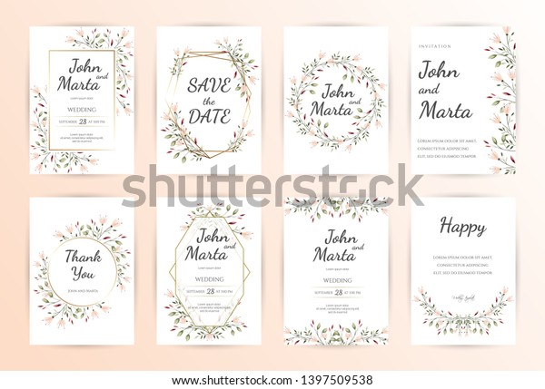Floral Wedding Invitation Modern Card Design Stock Vector (Royalty ...
