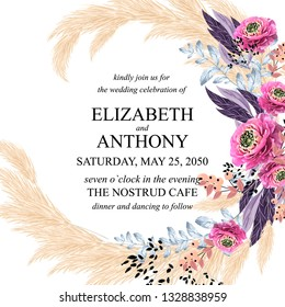 Floral wedding invitation peony rose greenery pampas grass