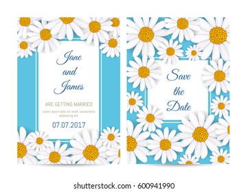 Floral wedding invitation with pink blooming chamomile flower vector illustration. Floral decorated design, thank you card, romantic celebration concept with copy space, happy marriage congratulation