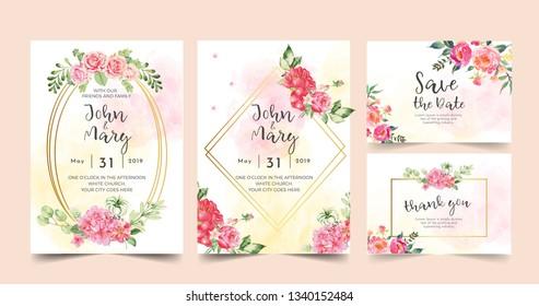 floral wedding invitation pink color flower - Vector