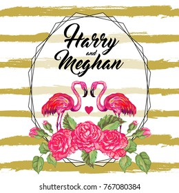 Floral wedding invitation with pink flamingos bird and rose flowers. Elegant invite card vector design. Geometric print frame, copy space. Wedding background. Golden romantic background
