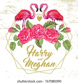 Floral wedding invitation with pink flamingos bird and rose flowers. Elegant invite card vector design. Golden geometric print frame, copy space. Wedding background. Romantic background