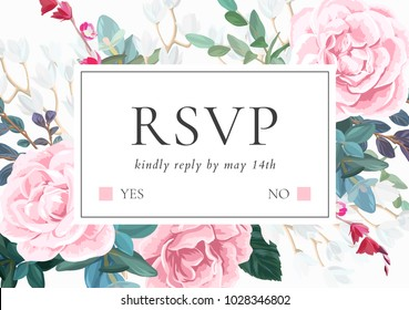 Floral wedding invitation with pink roses. Botanical RSVP card template. Hand drawn vector illustration.