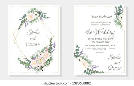 Floral wedding invitation. Polygonal gold frame, anemone flowers, roses, berries, eucalyptus, green plants and leaves. All elements are isolated.