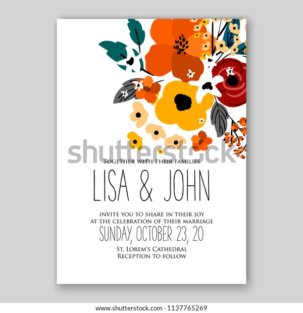 Floral Wedding Invitation Printable Template Card Stock