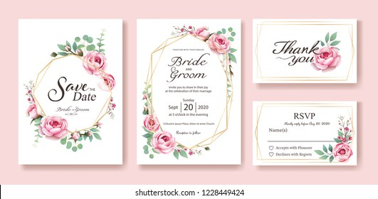 Floral wedding Invitation, save the date, thank you, rsvp card Design template. Vector. Queen of Sweden rose, silver dollar, leaves, Wax flower. vector.