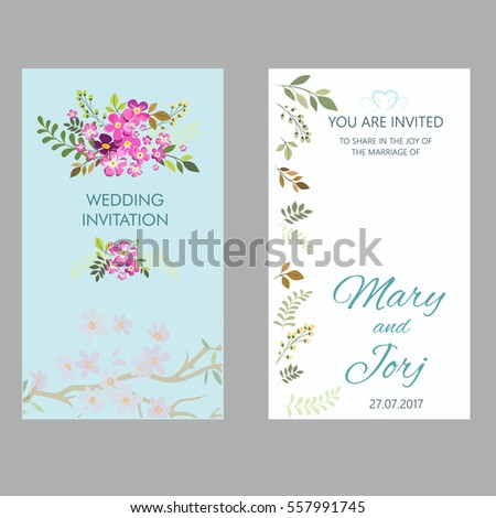 floral wedding invitation template stock vector royalty free