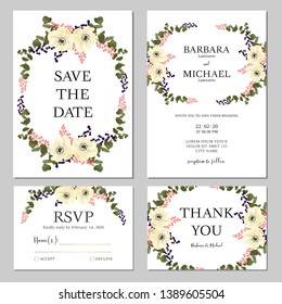Floral wedding invitation template set with anemone flower bouquet decoration. Realist style of bridal cards.