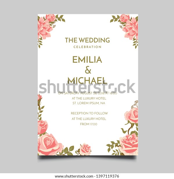 Floral Wedding Invitation Template Vector Design Stock Vector ...