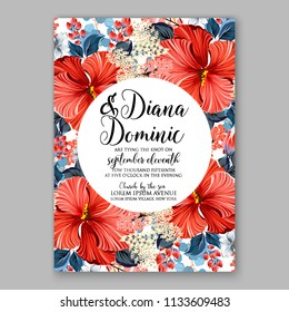 Floral wedding invitation vector card template Marriage flower background bridal shower invite, baby shower party invitation, save the date red coral hibiscus Aloha party Luau trofical