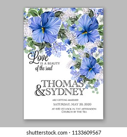 Floral wedding invitation vector card template Marriage flower background bridal shower invite, baby shower party invitation, save the date tropical blue hibiscus aloha