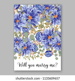 Floral wedding invitation vector card template Marriage flower background bridal shower invite, baby shower party invitation, save the date blue chrysanthemum peony