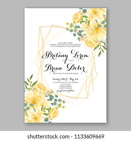 Floral wedding invitation vector card template Marriage flower background bridal shower invite, baby shower party invitation, save the date yellow rose peony chrysanthemum sunflower