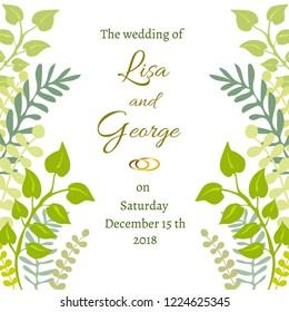 Floral wedding invitation. Vector design