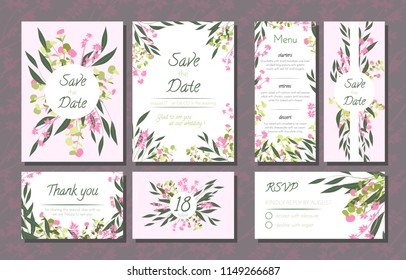 Floral Wedding Invitation with Vector Eucalyptus Leaves, Forest Herbs, Elegant Decorative Flowers. Vintage Invite, Menu, Rsvp, Thank You Label. Save the Date Card. Wedding Invitation in Pastel Colors.