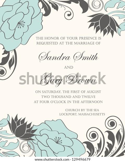 Floral wedding invitation. Vector illustration