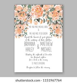 Floral wedding invitation vector peach orange Peony rose ranunculus flower greenery digital background illustration template