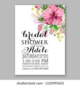 Floral Wedding Invitation Vector Printable Card Template Bridal Shower Bouquet Flower Marriage Ceremony Wording Text Pink