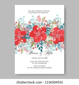 Floral Wedding Invitation Vector Printable Template Marriage Ceremony Card Red Anemone Poinsettia Poppy Watercolor Peony Bridal