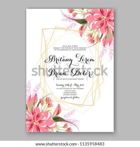 Floral Wedding Invitation Vector Printable Card Stock Vector