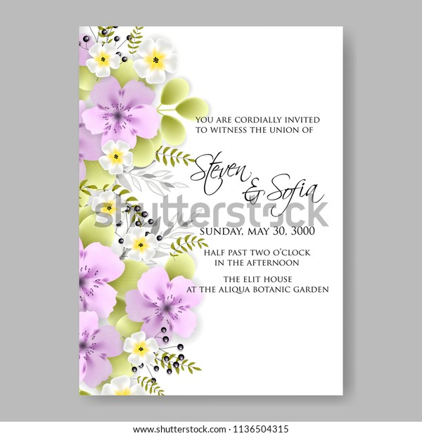 Floral Wedding Invitation Vector Printable Template