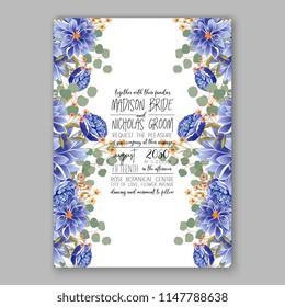 Floral wedding invitation vector template blue flower of peony dahlia chrysnthemum