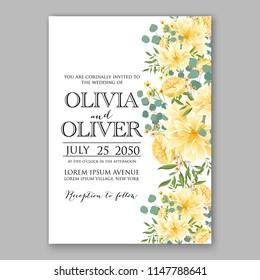 Floral wedding invitation vector template yellow sunflower dahlia chrysanthemum