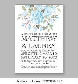 Floral wedding invitation vector template blue rose