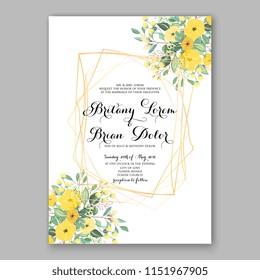 Floral wedding invitation vector yellow sunflower Peony flower greenery digital background illustration template