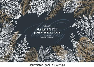 Floral wedding invitation. Vintage flower greeting card. Vector illustration