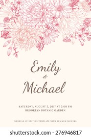 Floral wedding invitation in vintage style. Chrysanthemums, asters, daisies. Pink flowers. Vector illustration.