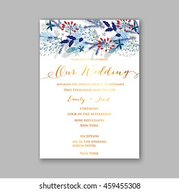 floral wedding invitation with winter christmas wreath merry christmas and happy new year card