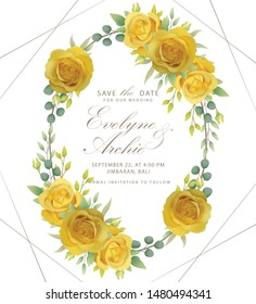 floral wedding invitation with yellow rose