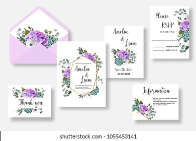 Floral wedding invitation,thank you,rsvp card, envelope watercolor design set. Hydrangea,anemone,succulent,eucalypyus leaves.Template with text place for invite, greeting and covers, poligraphy