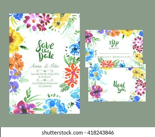 Floral wedding set. Bright summer templates for your bridal design.
