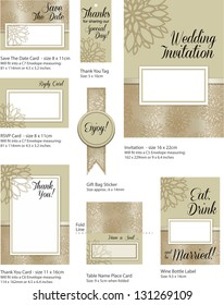 Floral Wedding Stationery Template.  Use to print your own Wedding stationery. Simply add your own names, dates and text to complete the look.